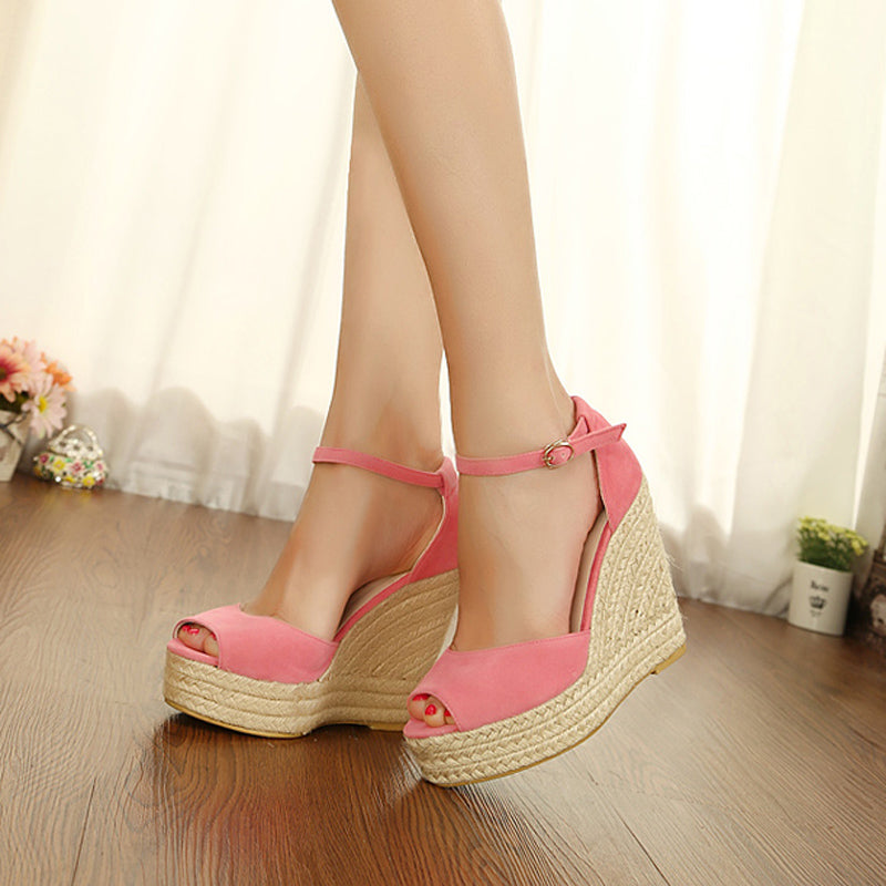 Suede Pure Color Peep Toe Woven Wedge Heel Ankle Strap Sandals