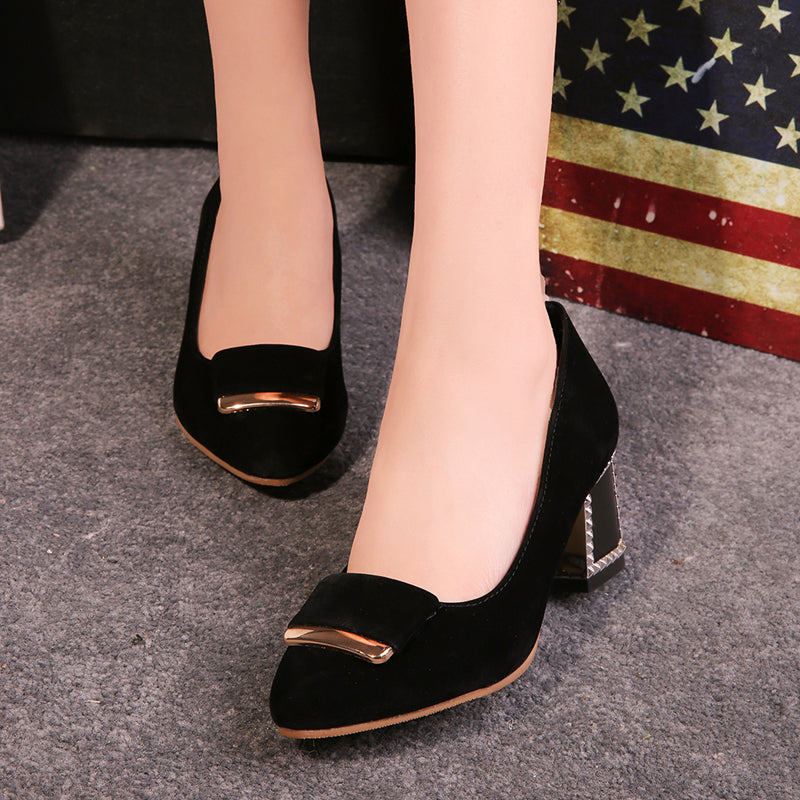 Suede Pure Color Pointy Toe Block Heel Metal Embellished Loafers