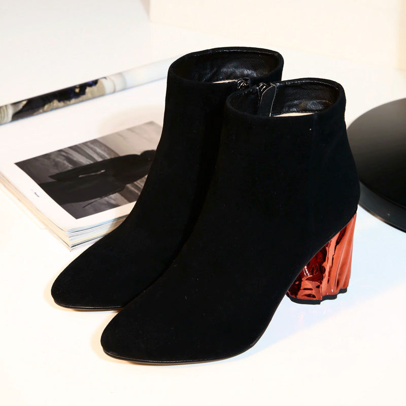 Suede Pure Color Pointy Toe Metal High Block Heel Side Zipper Ankle Boots