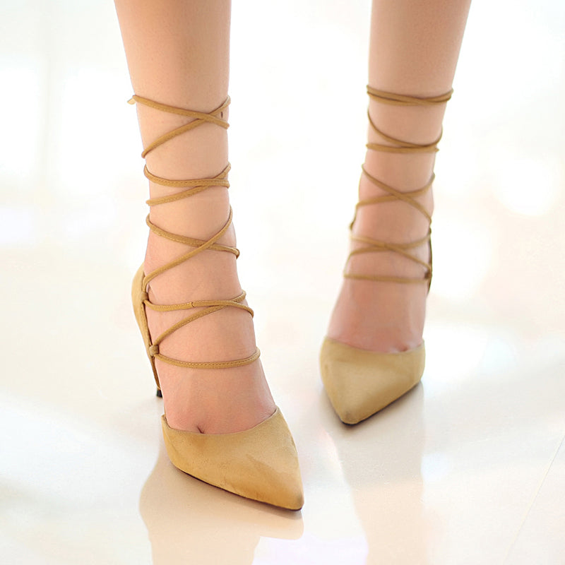 Suede Pure Color Pointy Toe Stiletto Heel Cross Strap Sandals