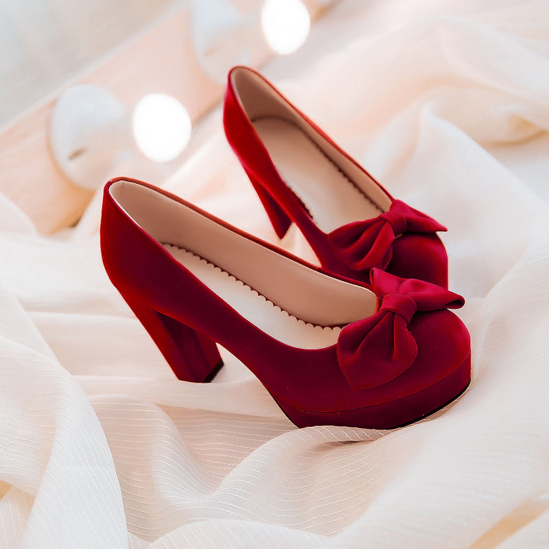 Suede Pure Color Round Toe Block Heel Bowtie Court Shoes