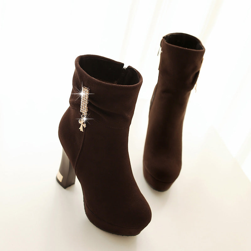 Suede Pure Color Round Toe Block Heel Crystal Embellished Side Zipper Ankle Boots