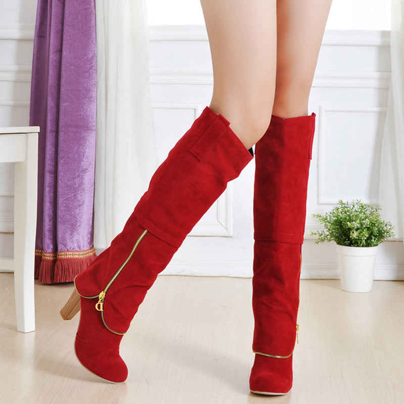 Suede Pure Color Round Toe Block Heel Metal Zipper Embellished Knee High Boots