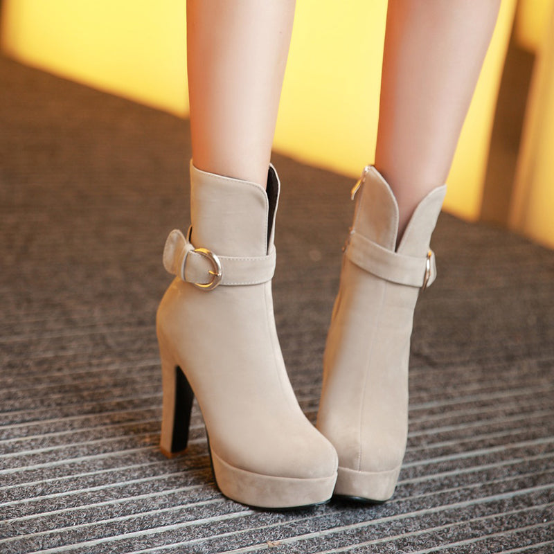 Suede Pure Color Round Toe Block Heel Side Zipper Strap Mid-calf Boots