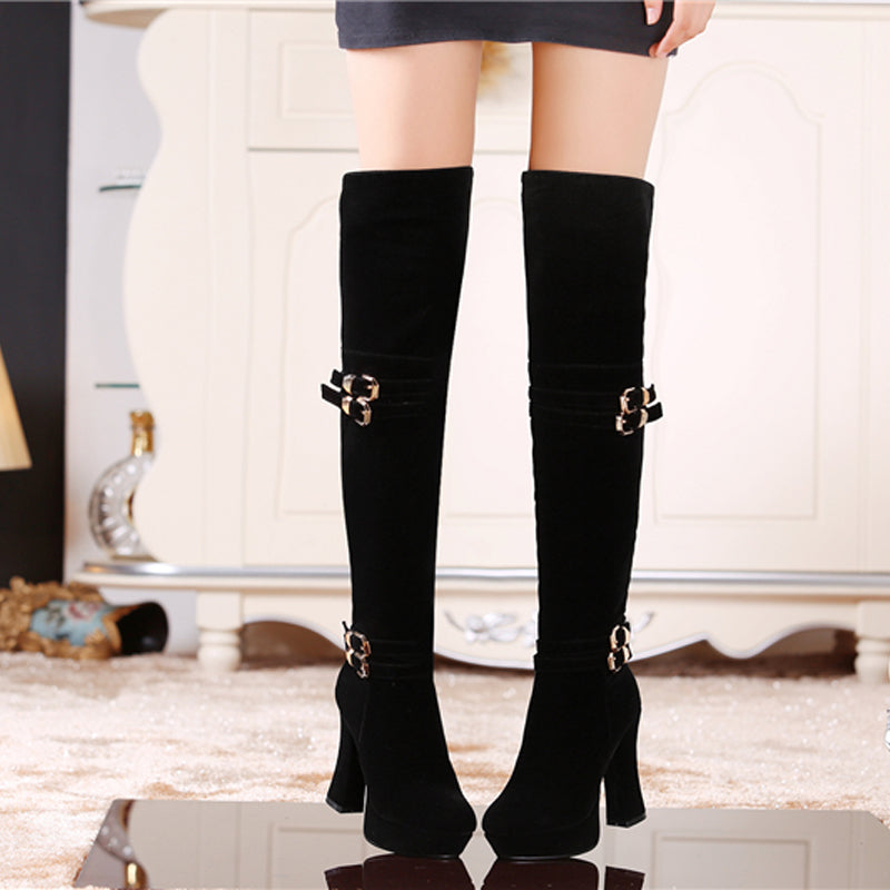 Suede Pure Color Round Toe Block Heel Side Zipper Metal Embellished Over Knee High Boots