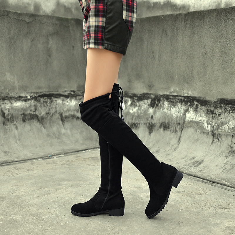 Suede Black Round Toe Block Heel Side Zipper Over Knee High Boots