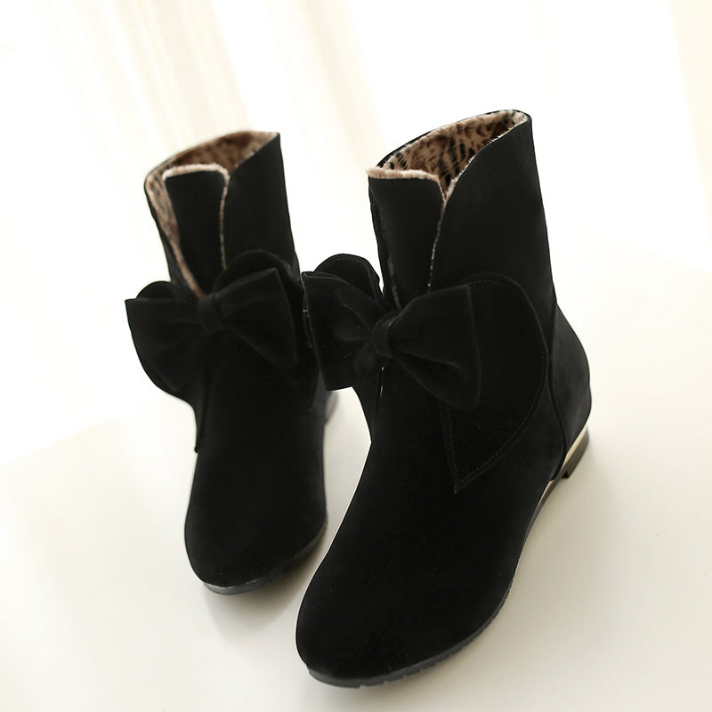 Suede Pure Color Round Toe Hidden Heel Bowtie Ankle Boots