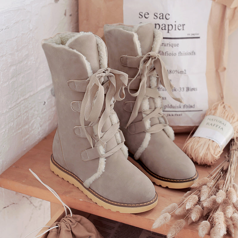 Suede Pure Color Round Toe Hidden Heel Lace Up Mid-caf Boots