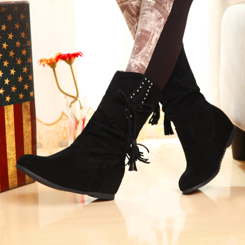 Suede Pure Color Round Toe Hidden Heel Slouch Boots With Crystal And Tassel