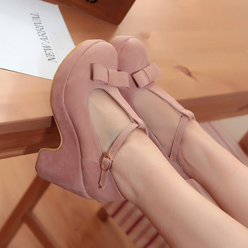 Suede Pure Color Round Toe High Block Heel T-strap Buckle Bowtie Pumps