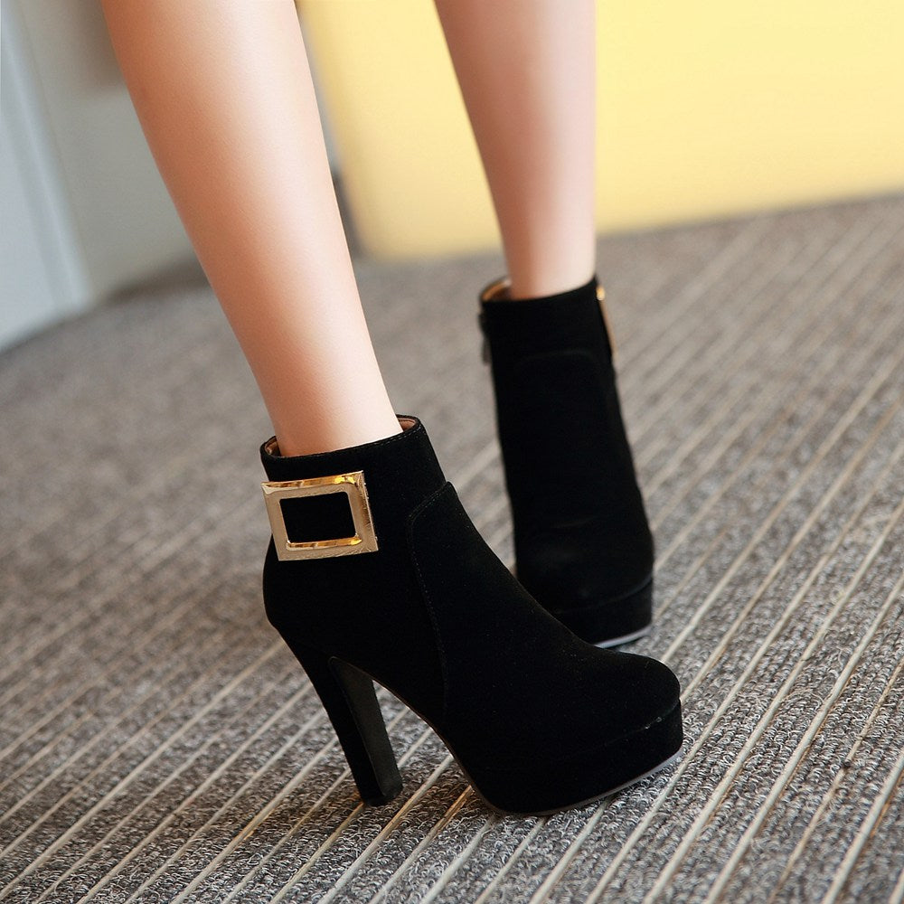 Suede Pure Color Round Toe High Heel Metal Decoration Ankle Boots