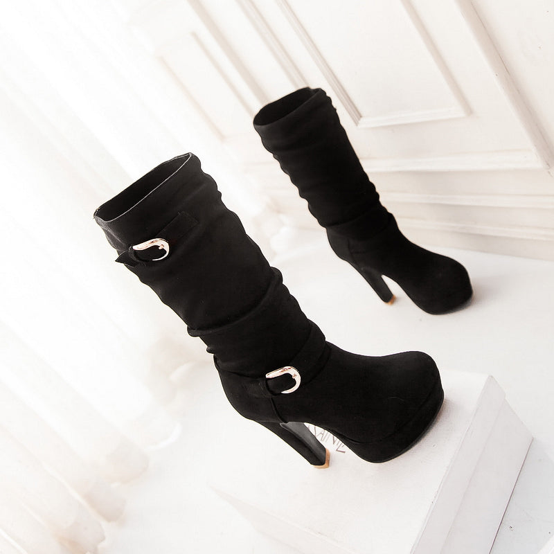 Suede Pure Color Round Toe High Heel Metal Embellished Knee High Slouch Boots