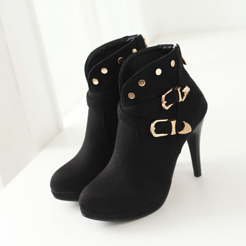 Suede Pure Color Round Toe Stiletto Heel Metal Embellished Back Zipper Ankle Boots