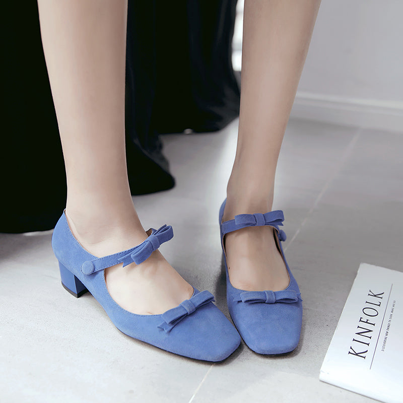 Suede Square Toe Block Heel Bowtie Ankle Strap Mary Janes