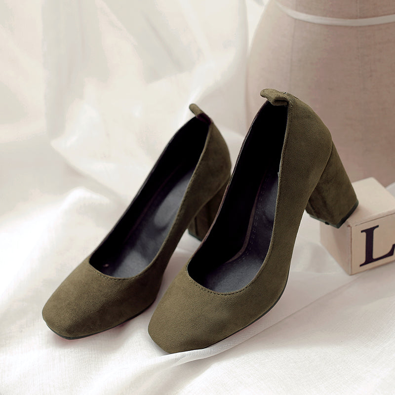 Suede Square Toe Block Heel Loafers