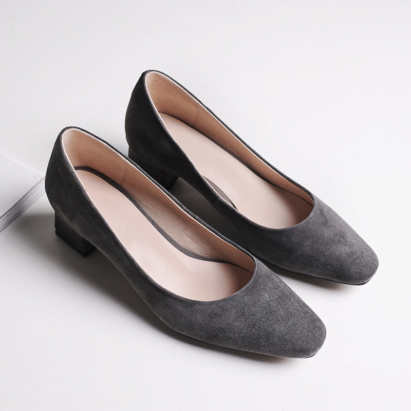 Suede Pure Color Square Toe Middle Block Heel Loafers