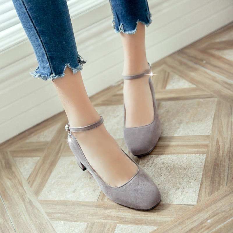 Suede Square Toe Block Heel Crystal Pendant Ankle Strap Pumps