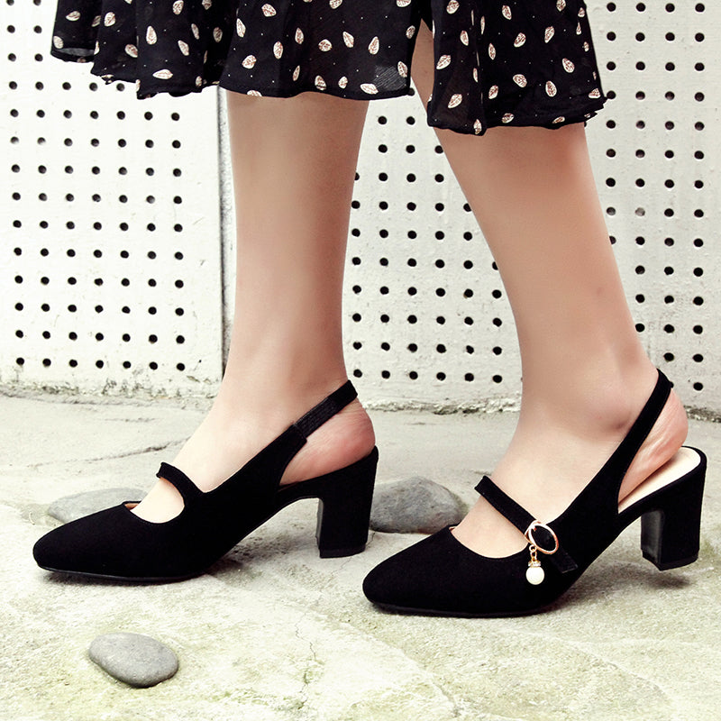 Suede Square Toe Block Heel Pearl Belt Slingback Sandals