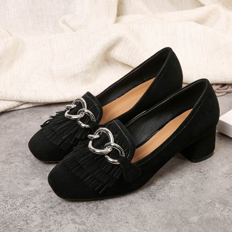 Suede Square Toe Block Heel Tassel Metal Embellished Loafers
