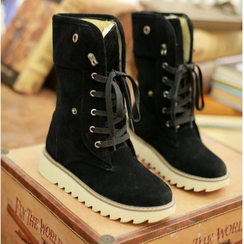 PU Pure Color Round Toe Flat Heel Short Boots 9 Black