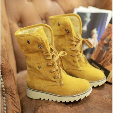 PU Pure Color Round Toe Flat Heel Short Boots 9 Amber