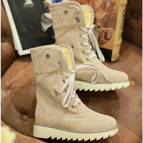 PU Pure Color Round Toe Flat Heel Short Boots 9 Beige