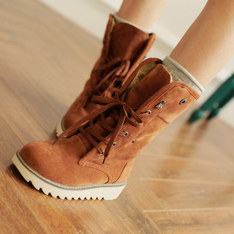 PU Pure Color Round Toe Flat Heel Short Boots 9 Brown