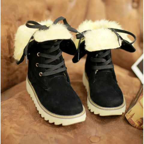 PU Pure Color Round Toe Flat Heel Short Boots 9.5 Black
