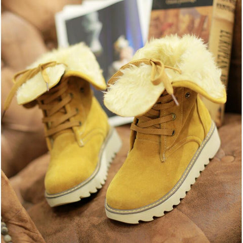 PU Pure Color Round Toe Flat Heel Short Boots 9.5 Amber