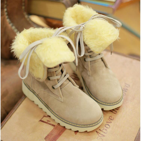 PU Pure Color Round Toe Flat Heel Short Boots 9.5 Beige