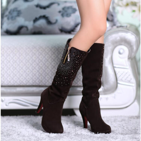 Suede Round Toe Side Zipper Knee High Boots 9 Chocolate