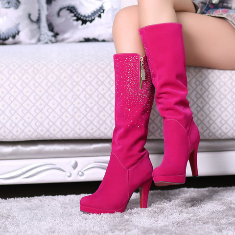 Suede Round Toe Side Zipper Knee High Boots 9 Magenta