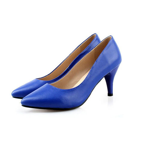 Head Layer Cowhide Pure Color Pointed Toe Low Heel Pumps 7.5 Blue