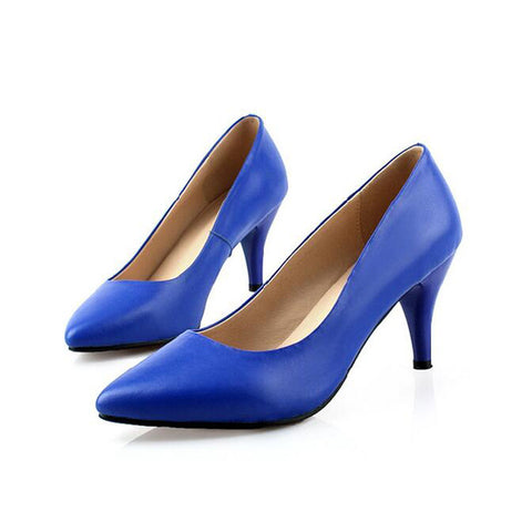 Head Layer Cowhide Pure Color Pointed Toe Low Heel Pumps 7 Blue