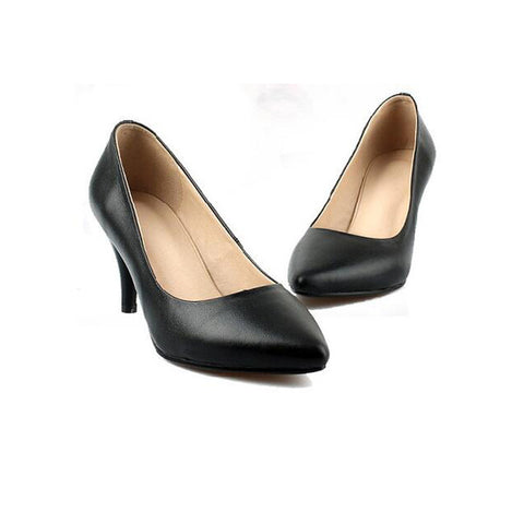 Head Layer Cowhide Pure Color Pointed Toe Low Heel Pumps 7 Black