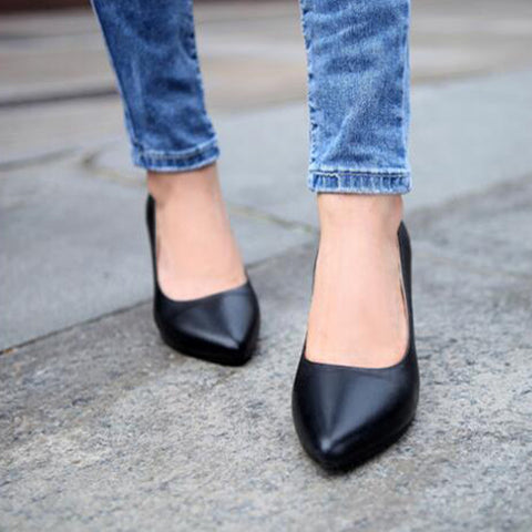 Head Layer Cowhide Pure Color Pointed Toe Low Heel Pumps 7.5 Black