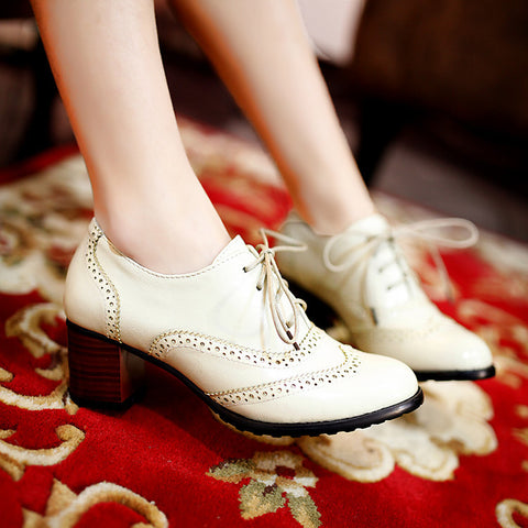 Head Layer Cowhide Pure Color Round Toe Middle Heel Lace Up Brogues 9.5 Beige