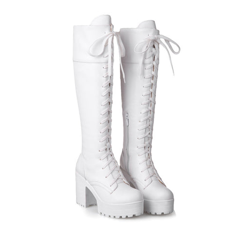 Fiber Round Toe Block Heel Lace Up Knee High Boots 9.5 White