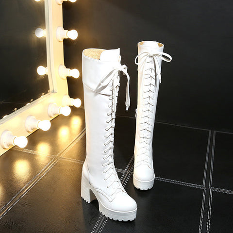Fiber Round Toe Block Heel Lace Up Knee High Boots 9 White