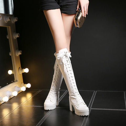Fiber Round Toe Block Heel Lace Up Knee High Boots 8.5 White