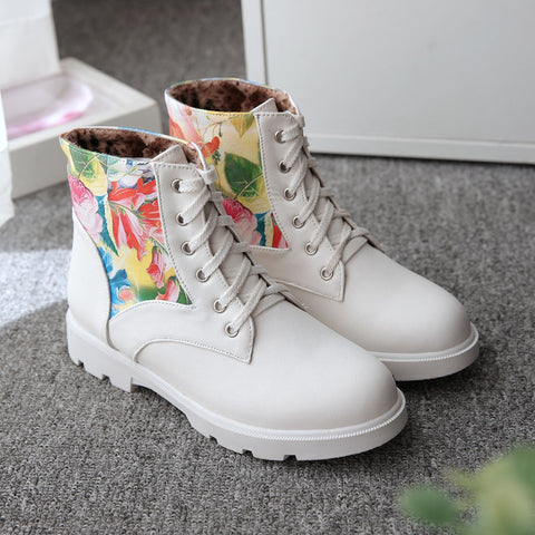 PU Flower Printed Round Toe Flat Heel Lace Up Short Boots 9 White