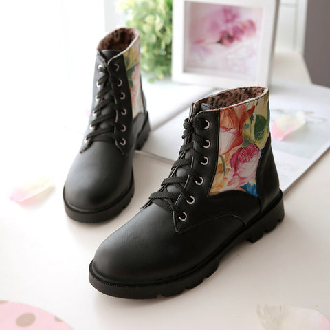 PU Flower Printed Round Toe Flat Heel Lace Up Short Boots 8.5 Black