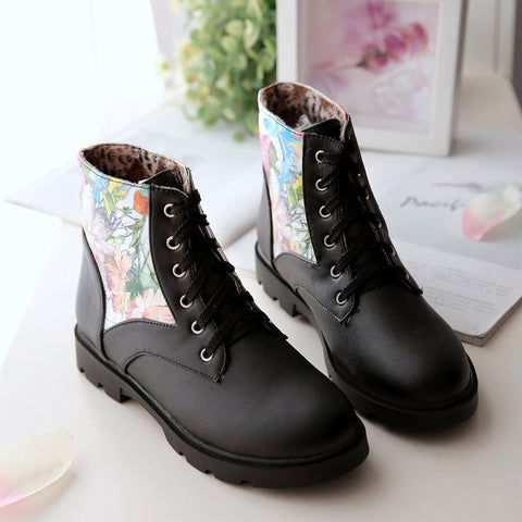 PU Flower Printed Round Toe Flat Heel Lace Up Short Boots 9 Black