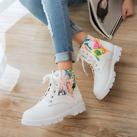 PU Flower Printed Round Toe Flat Heel Lace Up Short Boots 8.5 White