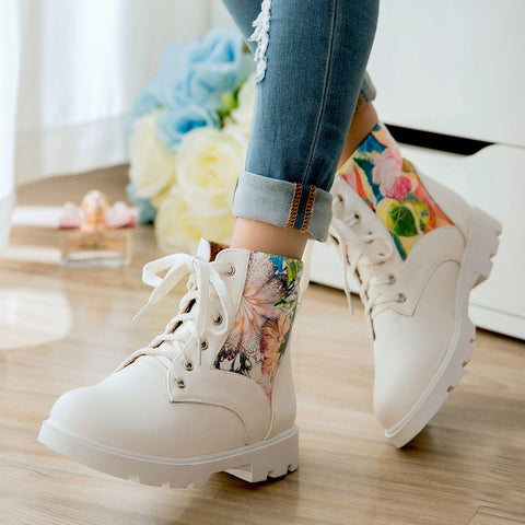 PU Flower Printed Round Toe Flat Heel Lace Up Short Boots 8 White