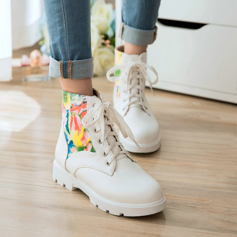 PU Flower Printed Round Toe Flat Heel Lace Up Short Boots 9.5 White