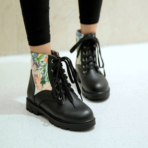 PU Flower Printed Round Toe Flat Heel Lace Up Short Boots 9.5 Black