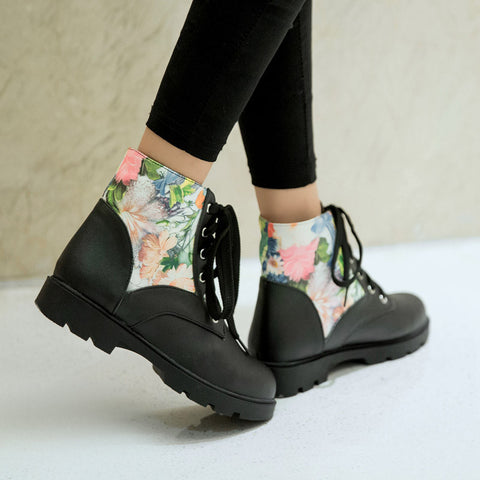 PU Flower Printed Round Toe Flat Heel Lace Up Short Boots 8 Black