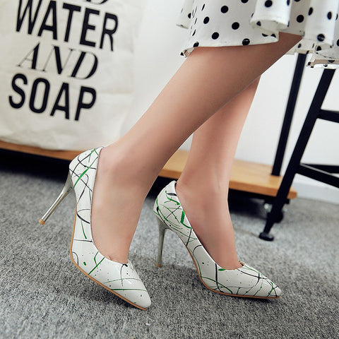 PU Pointed Toe Stiletto Heel Colorful Pumps 7.5 Green