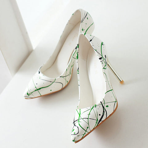 PU Pointed Toe Stiletto Heel Colorful Pumps 7 Green
